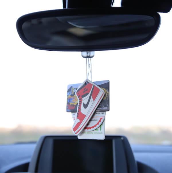 custom paper air freshener on rearview mirror
