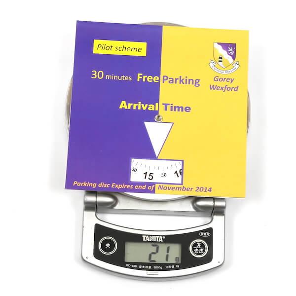 paper card parking disc weight