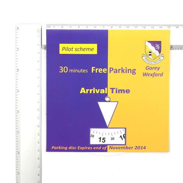 paper card parking timer size