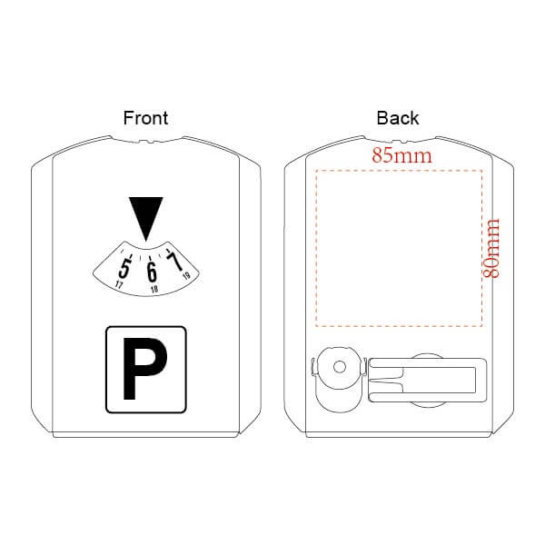 parking disc with tire gauge printing area